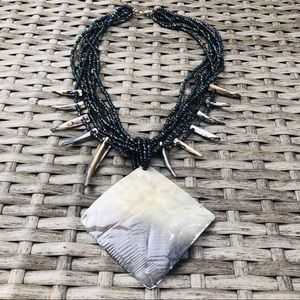 Gray Mother of Pearl Statement Necklace